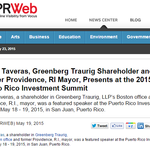 Angel Taveras, Greenberg Traurig Shareholder and Former Providence, RI Mayor, Presents at the 2015 Puerto Rico Investment Summit