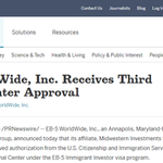 EB-5 WorldWide, Inc. Receives Third Regional Center Approval