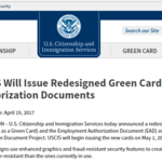 USCIS Will Issue Redesigned Green Cards and Employment Authorization Documents