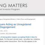 SEC Nabs Immigration Lawyers Acting as Unregistered Brokers, Orders Fines and Disgorgement