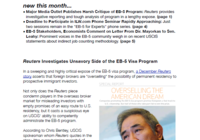 Reuters Investigates Unsavory Side of the EB-5 Visa Program