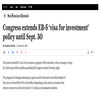 Congress extends EB-5 'visa for investment' policy until Sept. 30