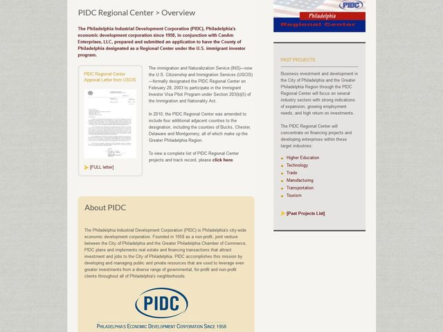 Philadelphia Industrial Development Corporation (PIDC) Regional Center screenshot