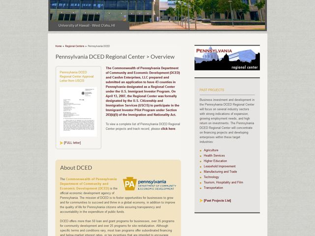 Pennsylvania Department of Community and Economic Development Regional Center screenshot