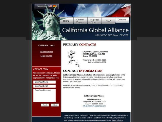 California Global Alliance Regional Center c/o Lewis C. Nelson & Sons, Inc. screenshot