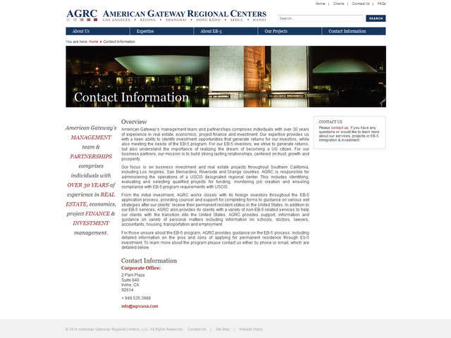 American Gateway Regional Centers screenshot