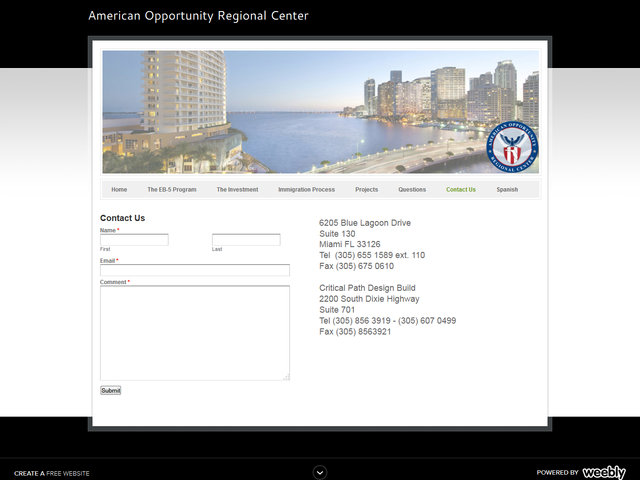 American Opportunity Regional Center screenshot
