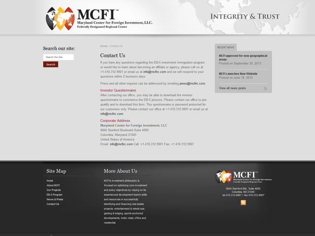 Maryland Center for Foreign Investment screenshot