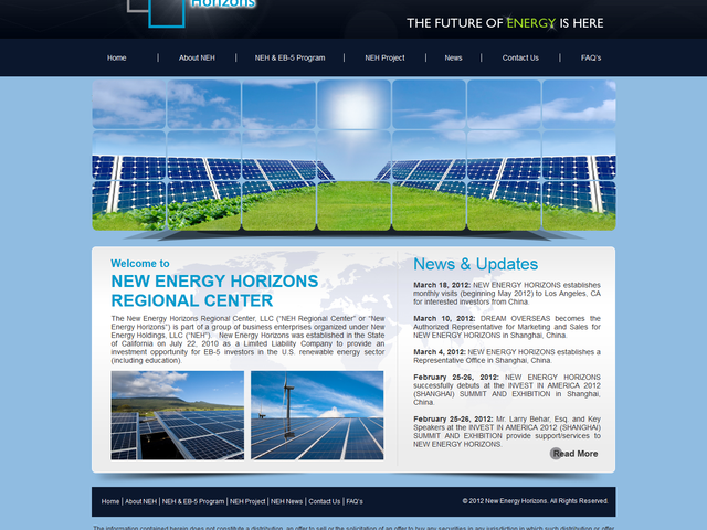 New Energy Horizons Regional Center screenshot