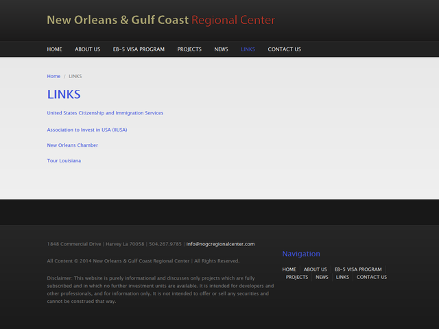 New Orleans & Gulf Coast Regional Center screenshot