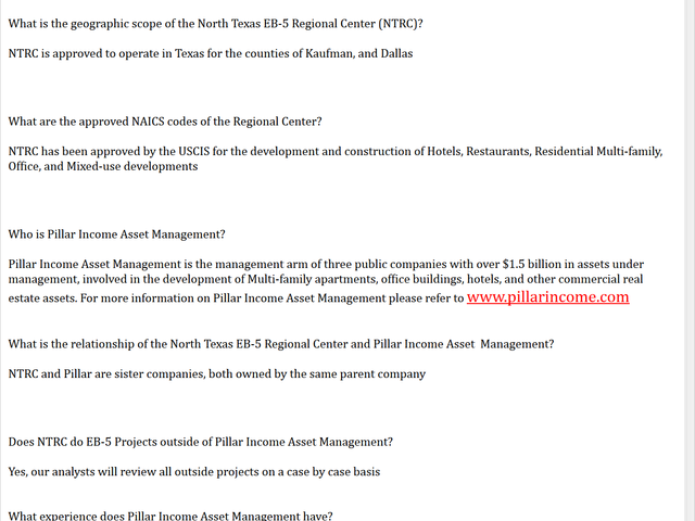 North Texas EB-5 Regional Center screenshot