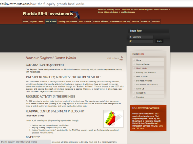 Florida EB5 Investments Regional Center screenshot