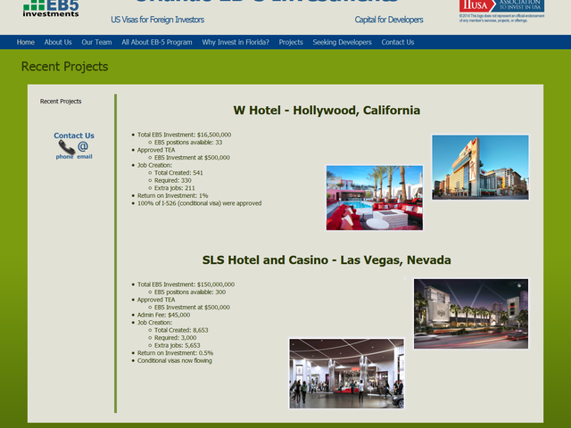 Orlando EB-5 Investments Regional Center screenshot
