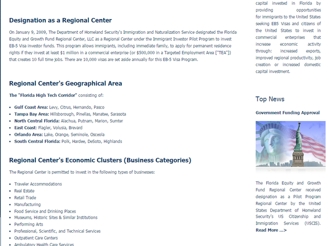 Florida Equity & Growth Fund Regional Center screenshot