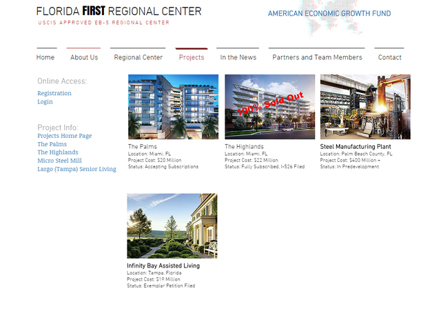 Florida First Regional Center (former name USEGF Florida Regional Center) screenshot