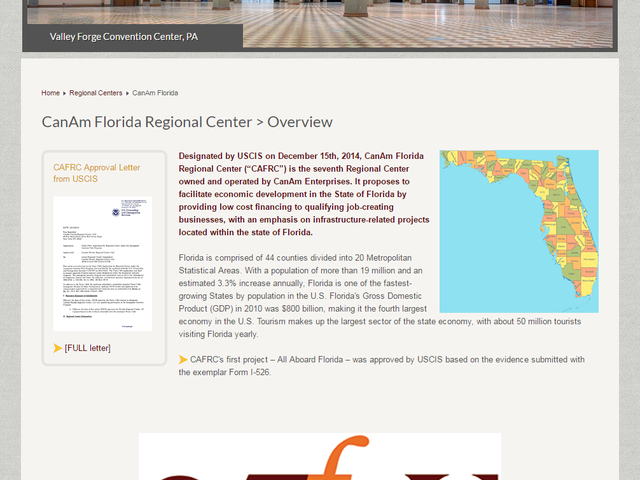 "CanAm Florida Regional Center (""CAFRC"") screenshot"