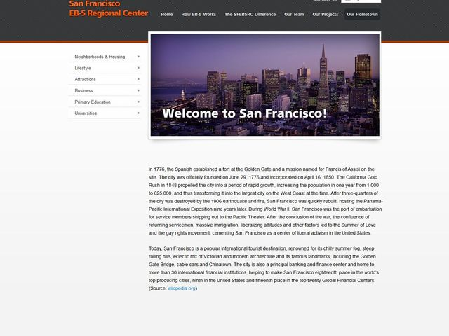 San Francisco EB-5 Regional Center screenshot