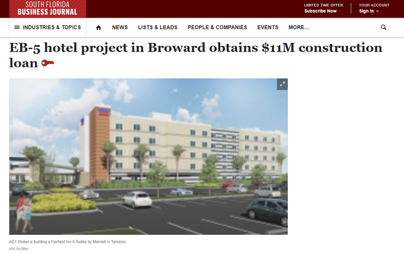 EB-5 hotel project in Broward obtains $11M construction loan