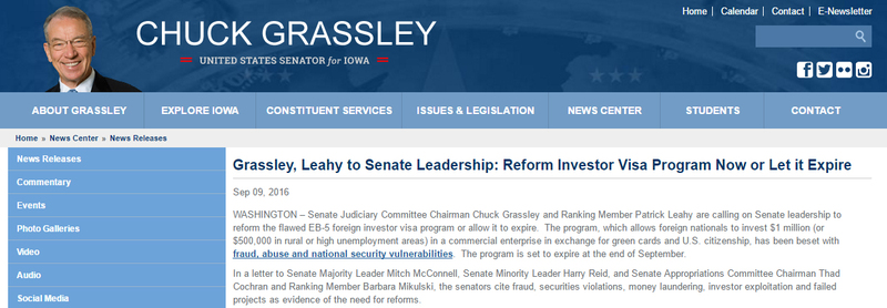 Grassley, Leahy to Senate Leadership: Reform Investor Visa Program Now or Let it Expire