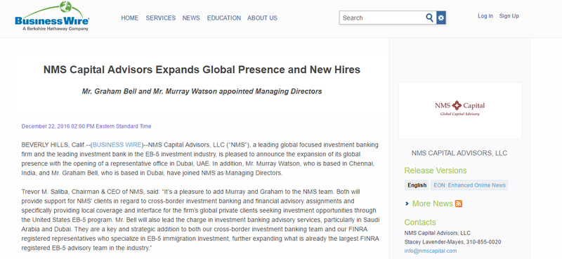 NMS Capital Advisors Expands Global Presence and New Hires - Update