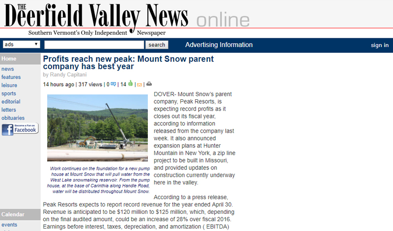 Profits reach new peak: Mount Snow parent company has best year