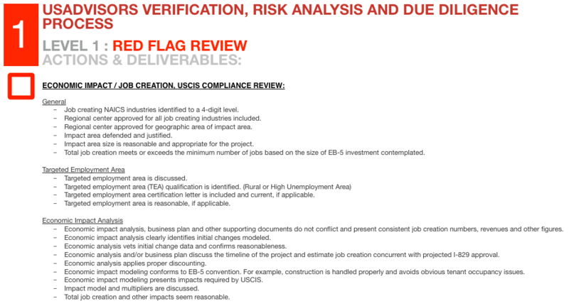 eb5 visa investment due diligence review