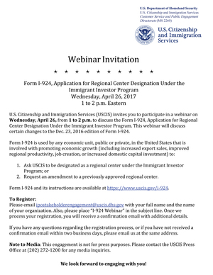 Form I-924, Application for Regional Center Designation Under the Immigrant Investor Program