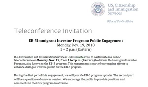 USCIS: EB-5 Immigrant Investor Program: Public Engagement, November 19, 2018