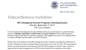 EB-5 Immigrant Investor Program: Listening Session