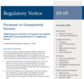 FINRA Regulatory Notice : Payments to Unregistered Persons