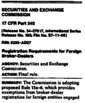 SEC : Registratlon Requlrements for Foreign Broker-Dealers