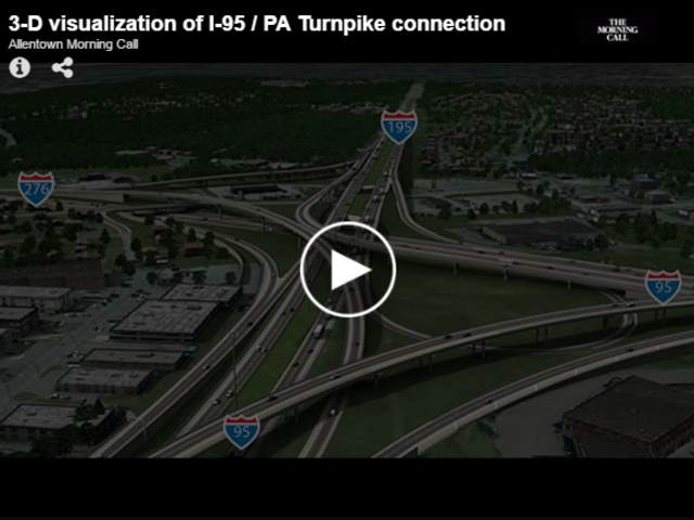 3-D visualization of I-95/ PA Turnpike Connection